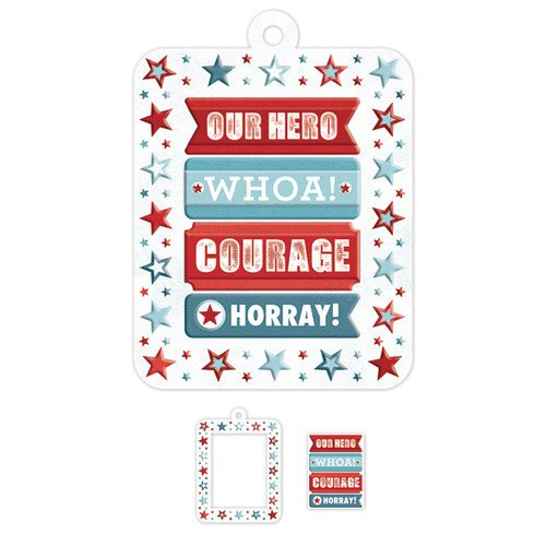 We R Memory Keepers - Red White and Blue Collection - Embossed Tags - Mini Frames - Star