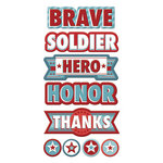 We R Memory Keepers - Red White and Blue Collection - Self Adhesive Layered Chipboard with Foil Accents - Words