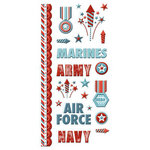 We R Memory Keepers - Red White and Blue Collection - Embossed Cardstock Stickers
