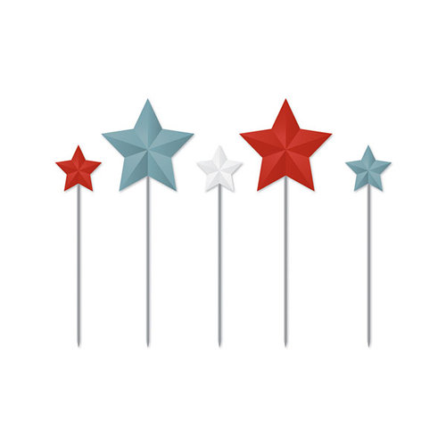 We R Memory Keepers - Red White and Blue Collection - Metal Star Pins