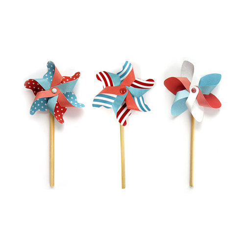 We R Memory Keepers - Red White and Blue Collection - Mini Pinwheels