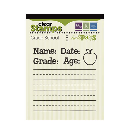 We R Memory Keepers - Hall Pass Collection - Clear Acrylic Stamps - Grade School