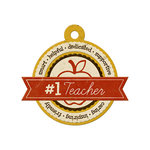 We R Memory Keepers - Hall Pass Collection - Embossed Tags - Number 1 Teacher