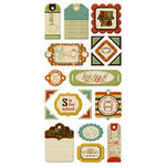 We R Memory Keepers - Hall Pass Collection - Self Adhesive Layered Chipboard with Varnish Accents - Tags