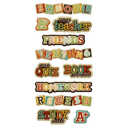 We R Memory Keepers - Hall Pass Collection - Self Adhesive Layered Chipboard with Varnish Accents - Words