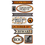 We R Memory Keepers - Black Widow Collection - Halloween - Self Adhesive Layered Chipboard - Words
