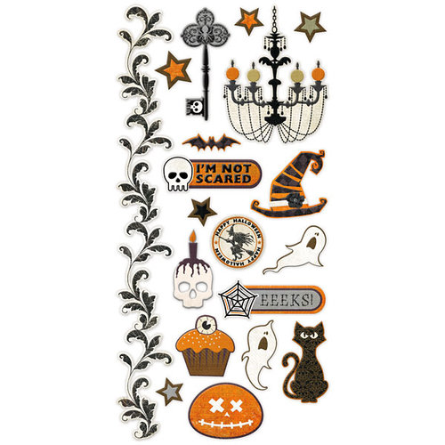We R Memory Keepers - Black Widow Collection - Halloween - Embossed Cardstock Stickers