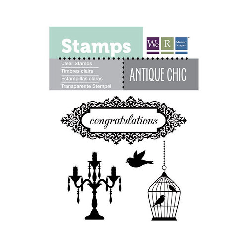 We R Memory Keepers - Antique Chic Collection - Clear Acrylic Stamps - Congratulations