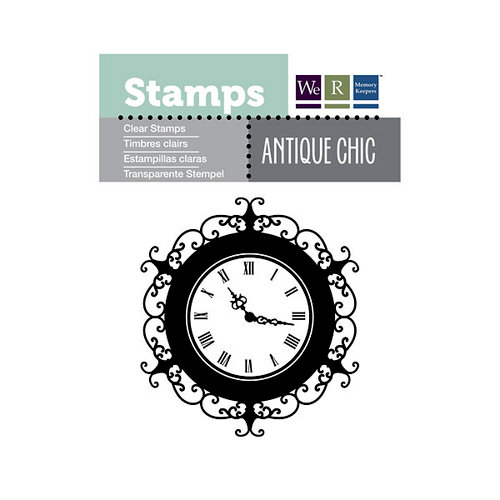 We R Memory Keepers - Antique Chic Collection - Clear Acrylic Stamps - Clock