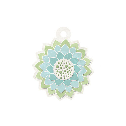 We R Memory Keepers - Winter Frost Collection - Embossed Tags - Winter Flower