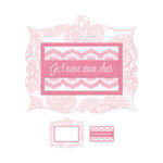 We R Memory Keepers - Crazy For You Collection - Embossed Tags - Mini Frames - Je T'aime