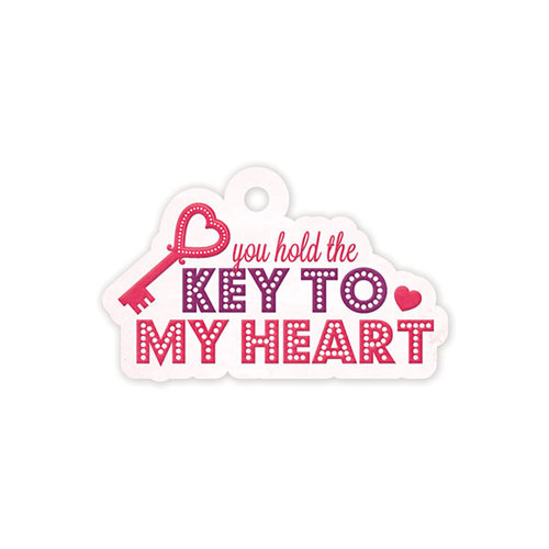 We R Memory Keepers - Crazy For You Collection - Embossed Tags - Key To My Heart