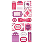 We R Memory Keepers - Crazy For You Collection - Self Adhesive Layered Chipboard with Glitter Accents - Tags