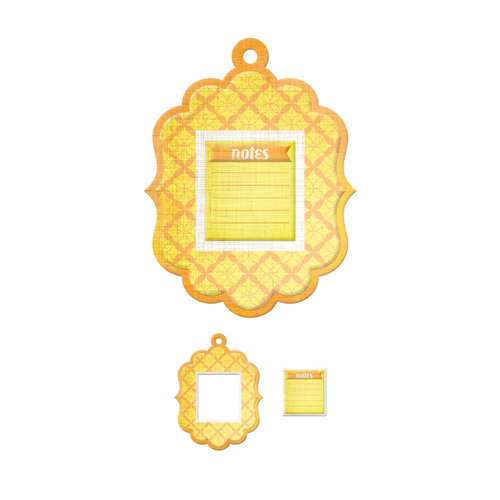 We R Memory Keepers - Feelin' Groovy Collection - Embossed Tags - Mini Frames - Notes