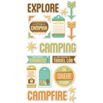 We R Memory Keepers - Happy Campers Collection - Self Adhesive Layered Chipboard with Foil Accents - Tags