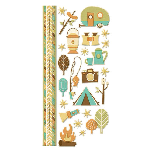 We R Memory Keepers - Happy Campers Collection - Embossed Cardstock Stickers