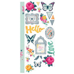 We R Memory Keepers - Inked Rose Collection - Embossed Cardstock Stickers
