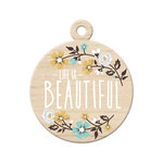 We R Memory Keepers - Indian Summer Collection - Wood Tag - Life is Beautiful