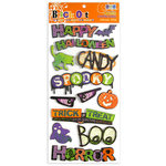 We R Memory Keepers - Black Out Halloween Collection - Self Adhesive Layered Chipboard Words, CLEARANCE