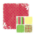 We R Memory Keepers - White Out Christmas Collection - 12 x 12 Double Sided Paper - Berry, CLEARANCE