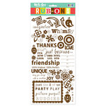 We R Memory Keepers - White Out Nonsense Collection - Rub Ons - Brown, CLEARANCE
