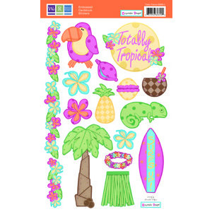 We R Memory Keepers - Embossible Designs - Embossed Cardstock Stickers - Totally Tropical