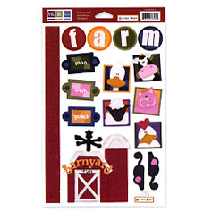 We R Memory Keepers - Embossible Designs - Embossed Cardstock Stickers - Farm - Animals