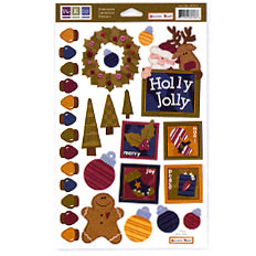 We R Memory Keepers - Embossible Designs - Embossed Cardstock Stickers - Christmas - Holly Jolly
