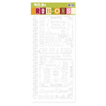 We R Memory Keepers - White Out Collection - Hoopla - Rub-Ons - White, CLEARANCE