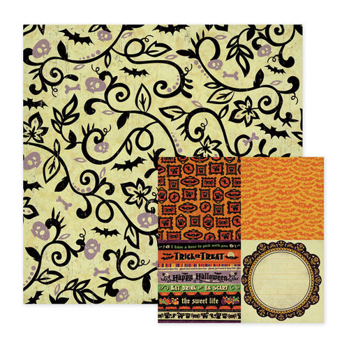 We R Memory Keepers - Heebie Jeebies Collection - Halloween - 12 x 12 Double Sided Paper - Wacky, CLEARANCE