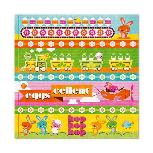 We R Memory Keepers - Peep Collection - Easter - 12 x 12 Flocked Paper - Easter Island