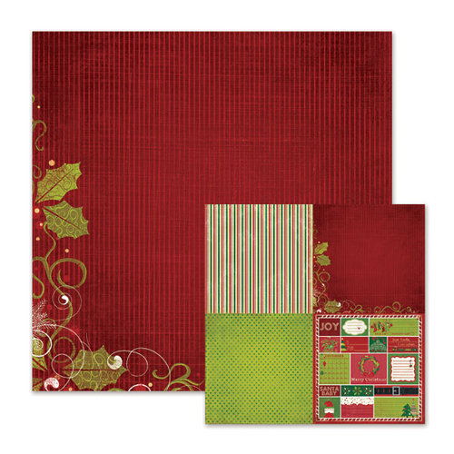 We R Memory Keepers - Peppermint Twist Collection - Christmas - 12 x 12 Double Sided Paper - Holly Jolly