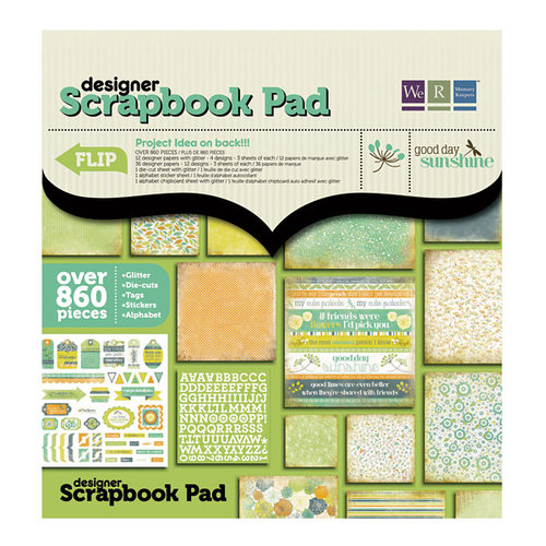 We R Memory Keepers - Good Day Sunshine Collection - 12 x 12 Designer Scrapbook Pad with Glitter Accents