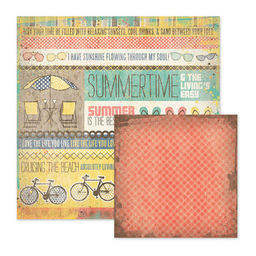 We R Memory Keepers - Down the Boardwalk Collection - 12 x 12 Double Sided Paper - Down by the Sea