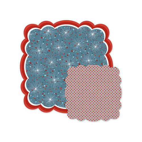 We R Memory Keepers - Red White and Blue Collection - 12 x 12 Double Sided Die Cut Paper - Fireworks