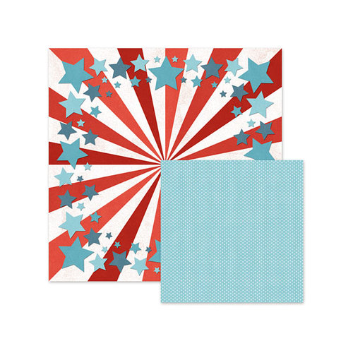 We R Memory Keepers - Red White and Blue Collection - 12 x 12 Double Sided Paper - Seeing Stars
