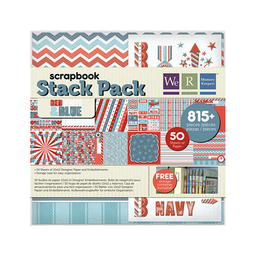 We R Memory Keepers - Red White and Blue Collection - 12 x 12 Stack Pack with Foil Accents