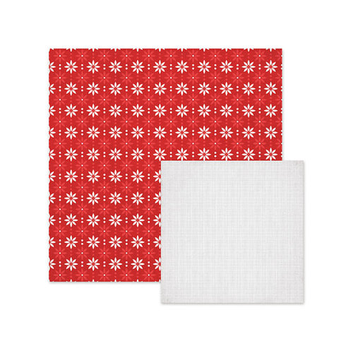 We R Memory Keepers - Yuletide Collection - Christmas - 12 x 12 Double Sided Paper - Poinsettia