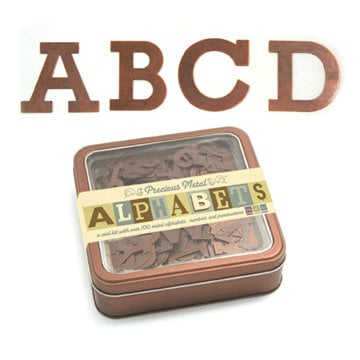 We R Memory Keepers - Precious Metals Collection - Metal Alphabet Set -  Coppered Out - Post
