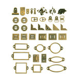 We R Memory Keepers - Precious Metals Collection - Metal Hardware Set - Vintage Brass