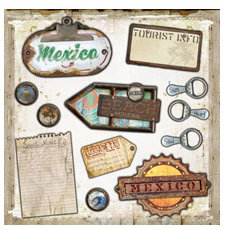 Wubie Prints - Weathered Tropical Traveler Collection - Junk Tags - 12x12 Cardstock Diecut Tags - Mexico - Beach - Vacation