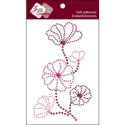 Zva Creative - Self Adhesive Crystals - Blooming - Pink Hot Pink and Grape