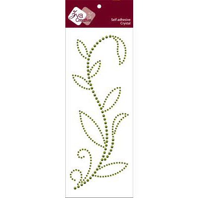 Zva Creative - Self-Adhesive Crystals - Leaved Branch - Rainy Vine - Olive Crystal and Pearl, CLEARANCE