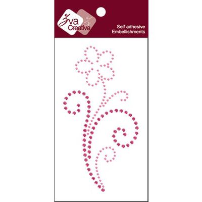 Zva Creative - Self-Adhesive Crystals - Flower Flourish - Pink and Rosy