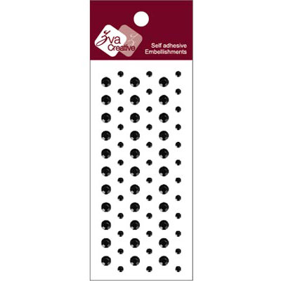 Zva Creative - Self-Adhesive Crystals - Dots - Jet