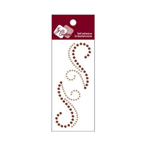 Zva Creative - Self-Adhesive Crystals - Small Symmetrical Flourishes 7 - Champagne and Chocolate