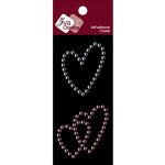 Zva Creative - Self-Adhesive Crystals - Triple Hearts - Clear and Pink, CLEARANCE