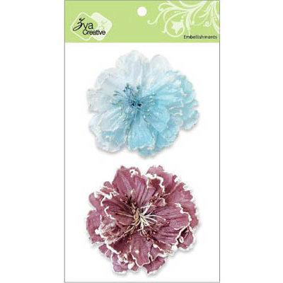 Zva Creative - Flower Embellishments - Bahama Botanicals - Soft Blue and Dusky Rose