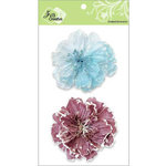 Zva Creative - Flower Embellishments - Bahama Botanicals - Soft Blue and Dusky Rose