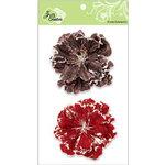 Zva Creative - Flower Embellishments - Bahama Botanicals - Chestnut and Scarlet